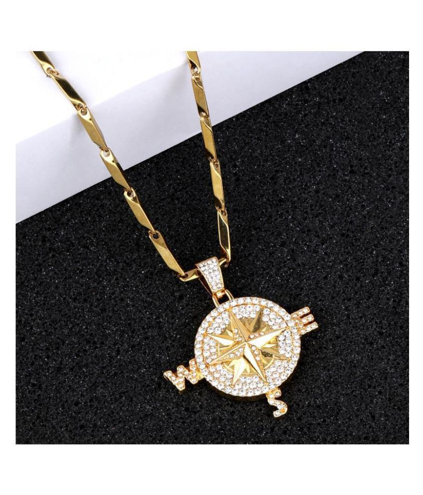 SILVER SHINE Unique  Gold Plated Daimond Pendent Chain For Man And Boy