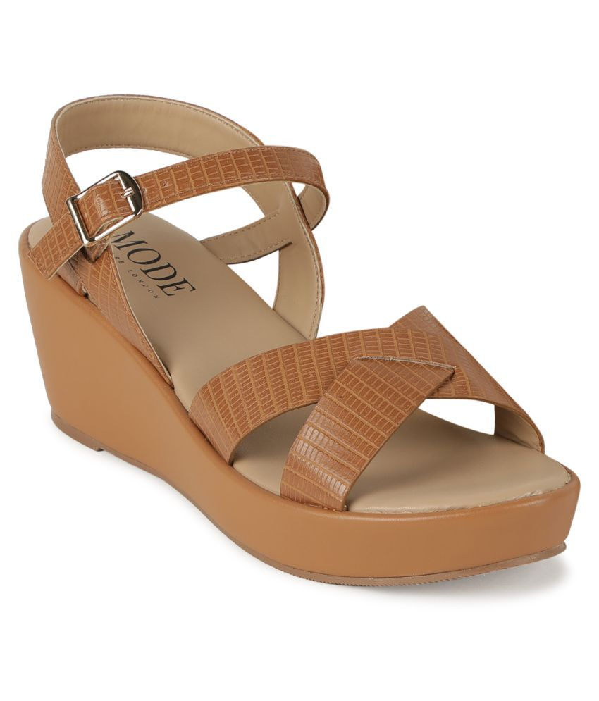 Mode By Red Tape Tan Wedges Heels