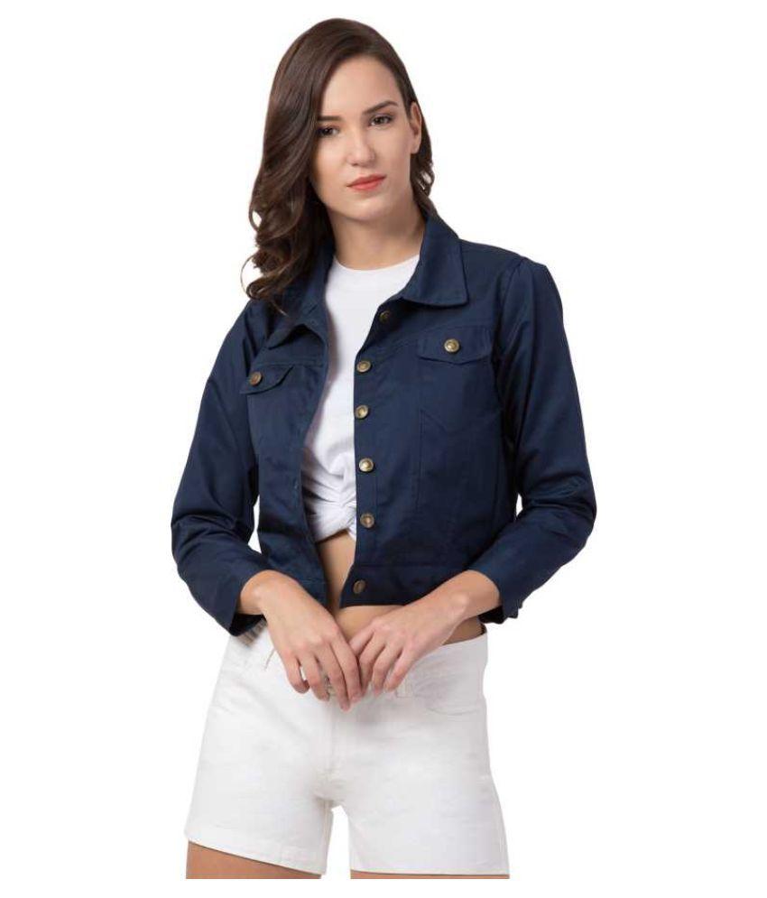 Dress Universal Cotton Blend Blue Jackets