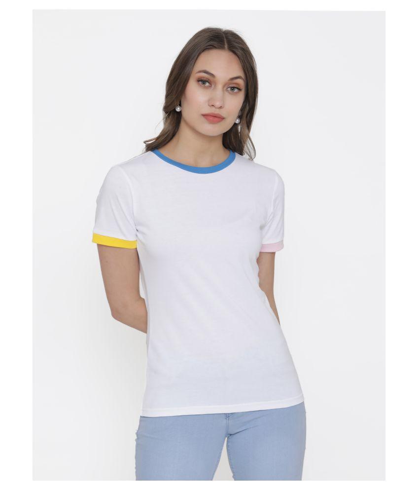 DOOR74 Cotton White T-Shirts