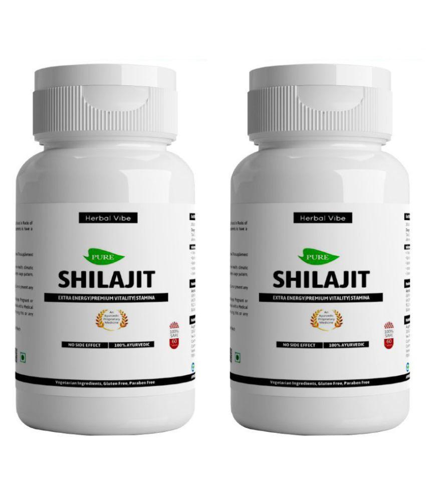 Herbal Vibe Stamina Booster Shilajit Capsule Immunity Booster Shilajeet 120 no.s Minerals Capsule Pack of 2