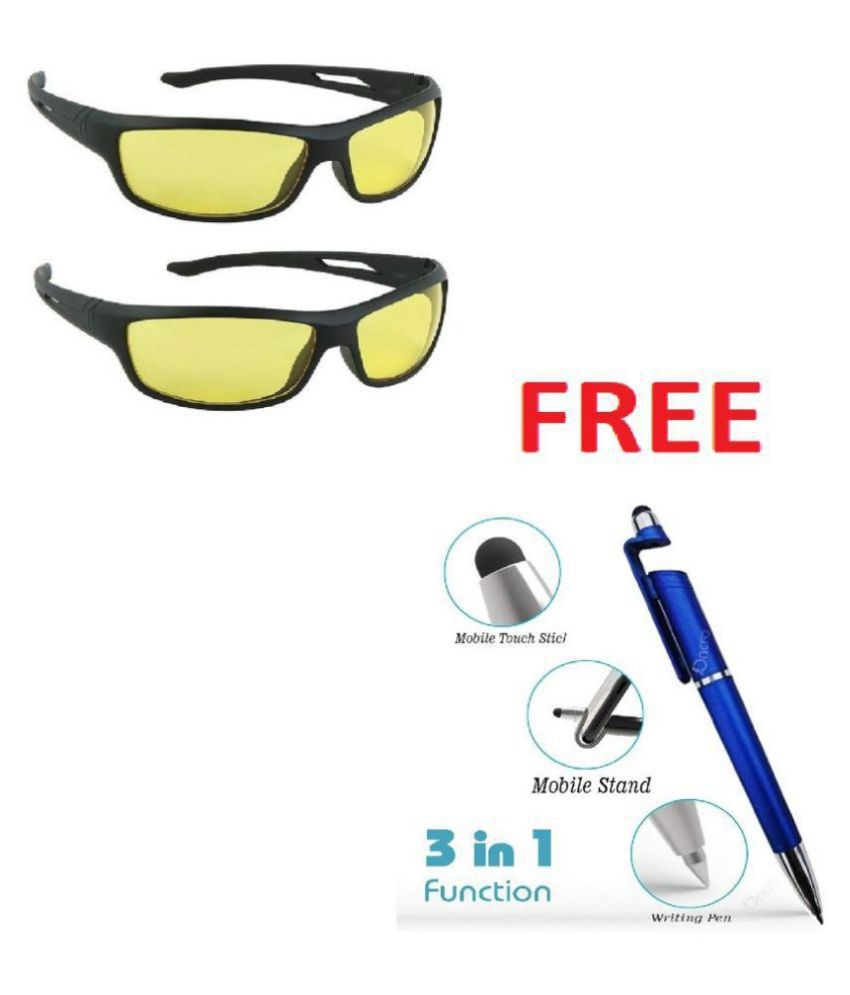 Unisex Night Vision Sunglasses ae(Yellow) with 3 in 1 pen. Set Of 2