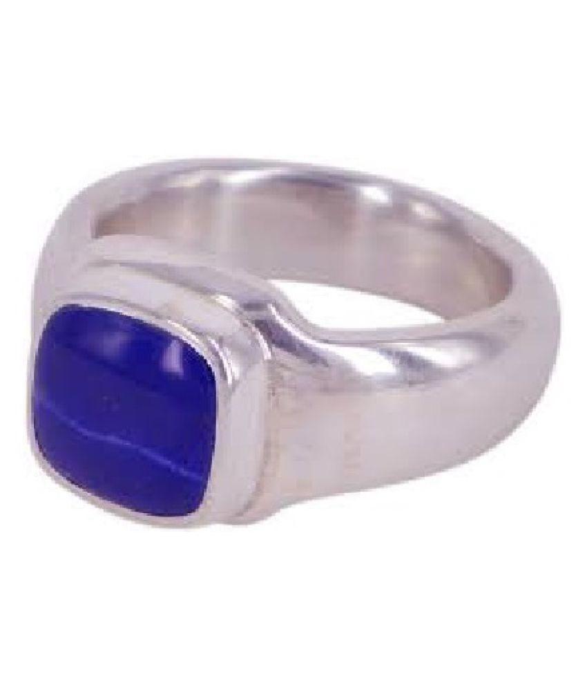 3.25 Ratti Carats Blue lapis lazuli  Natural Stone Free Size Adjustable silver Ring for Man Or Women