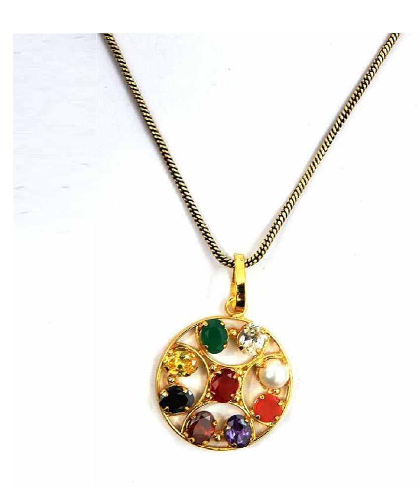 Stones  Natural Navratan  Gold Plated Pendant  by Kundli Gems\n