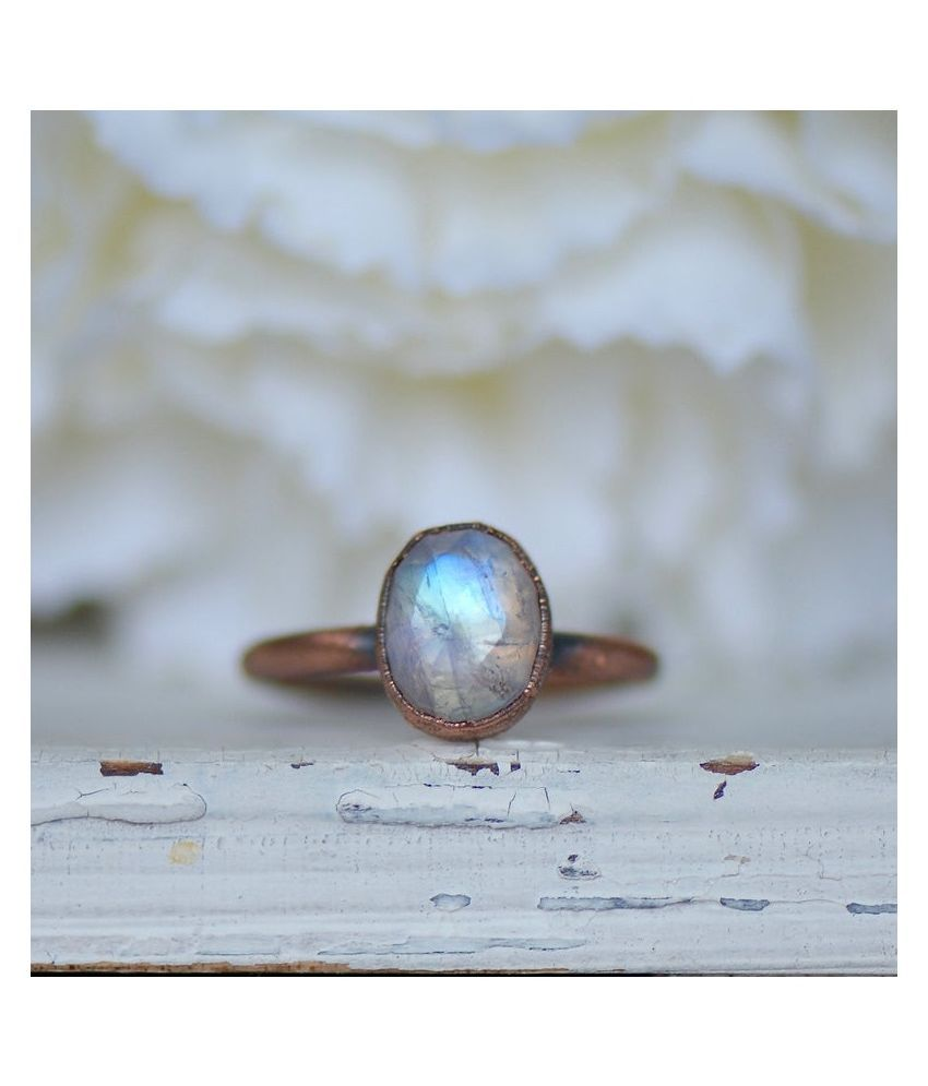 MOONSTONE Ring in 4 carat  Gold Plated by  Ratan Bazaar