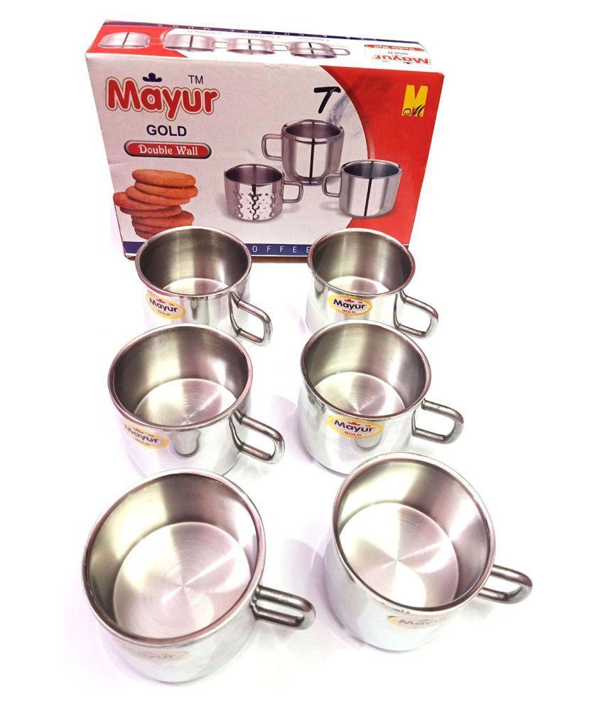 Mayur Gold Steel Tea Set 6 Pcs ml