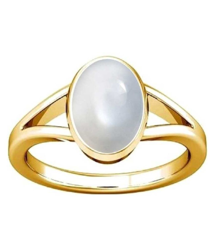 Natural MOONSTONE Stone 3.25 Ratti 100 Certified gold plated Ring By Ratan Bazaar