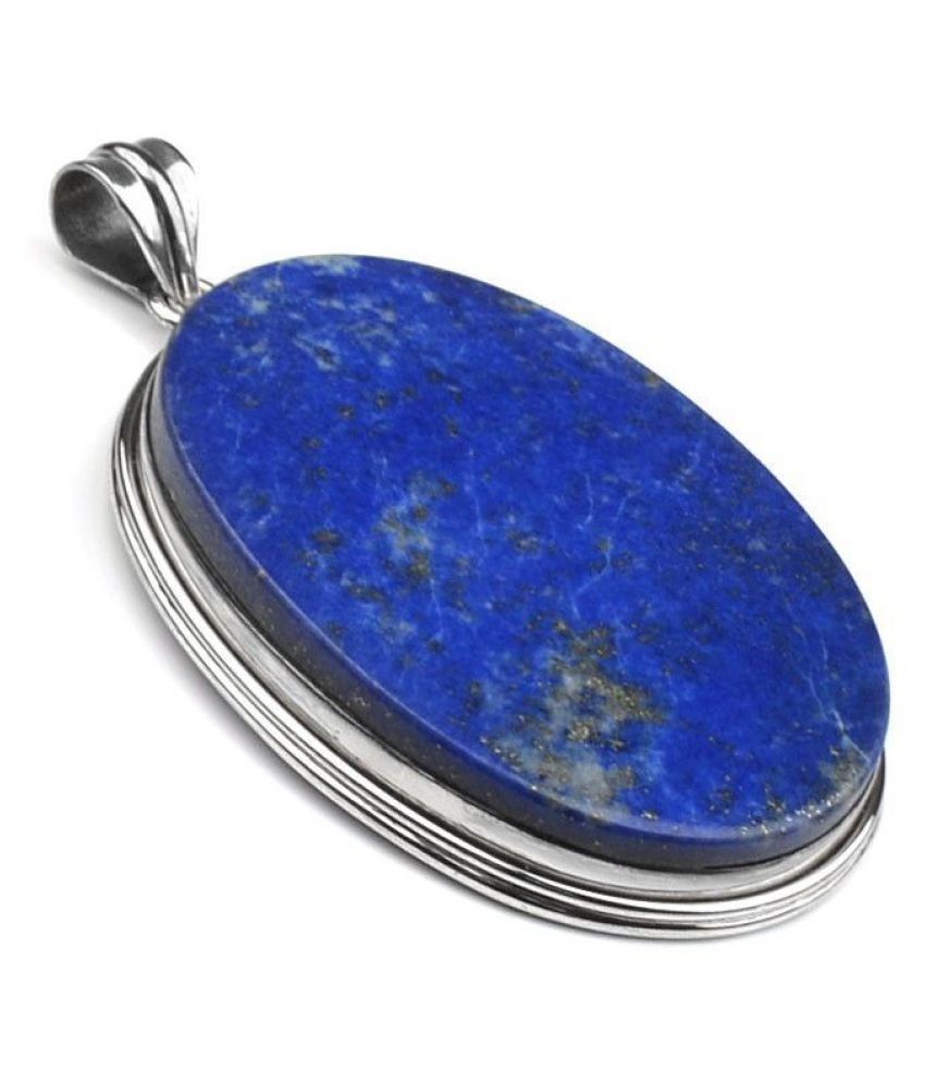 4 Carat blue lapis lazuli Pendant with lab Report Silver lapis lazuli blue Stone by Kundli Gems