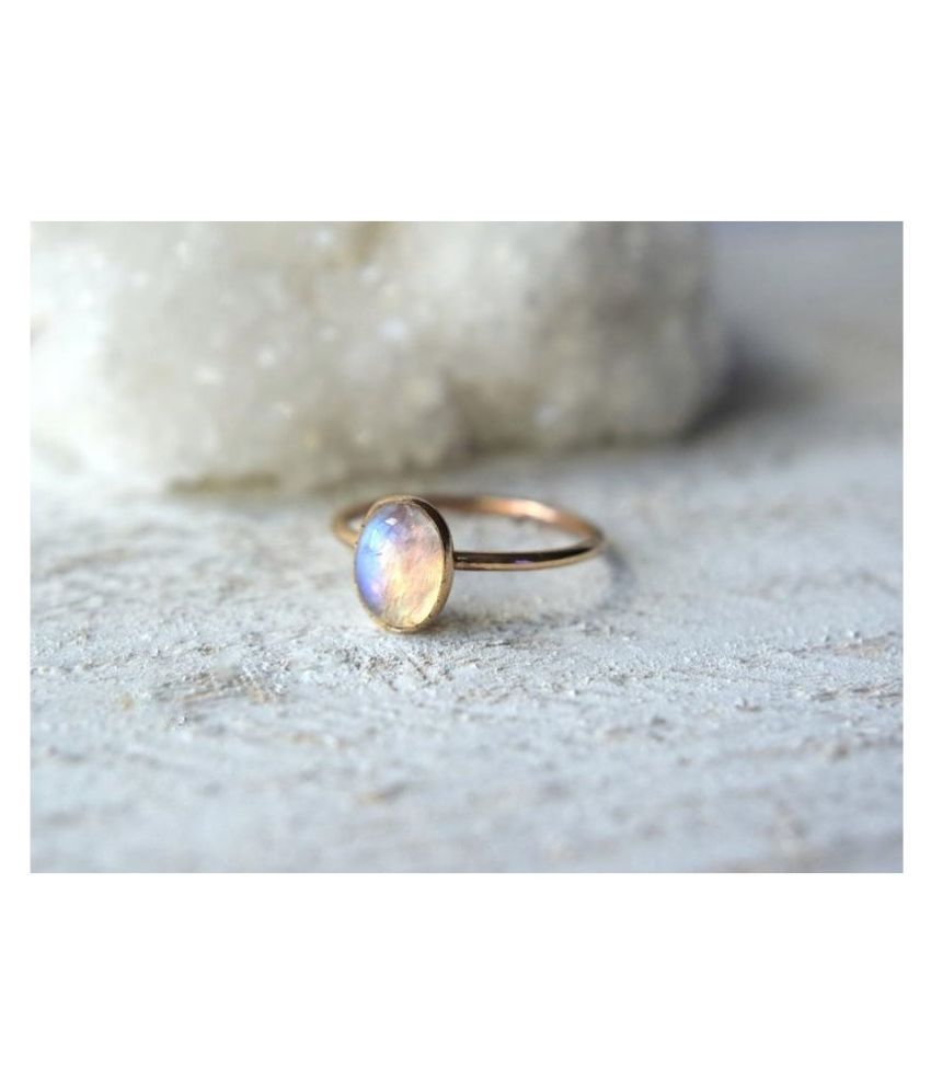 5.25.5.25 ratti Natural  MOONSTONE  Stone Adjustable panchdhatu Gold Plated Ring for Astrological MOONSTONE  Ring