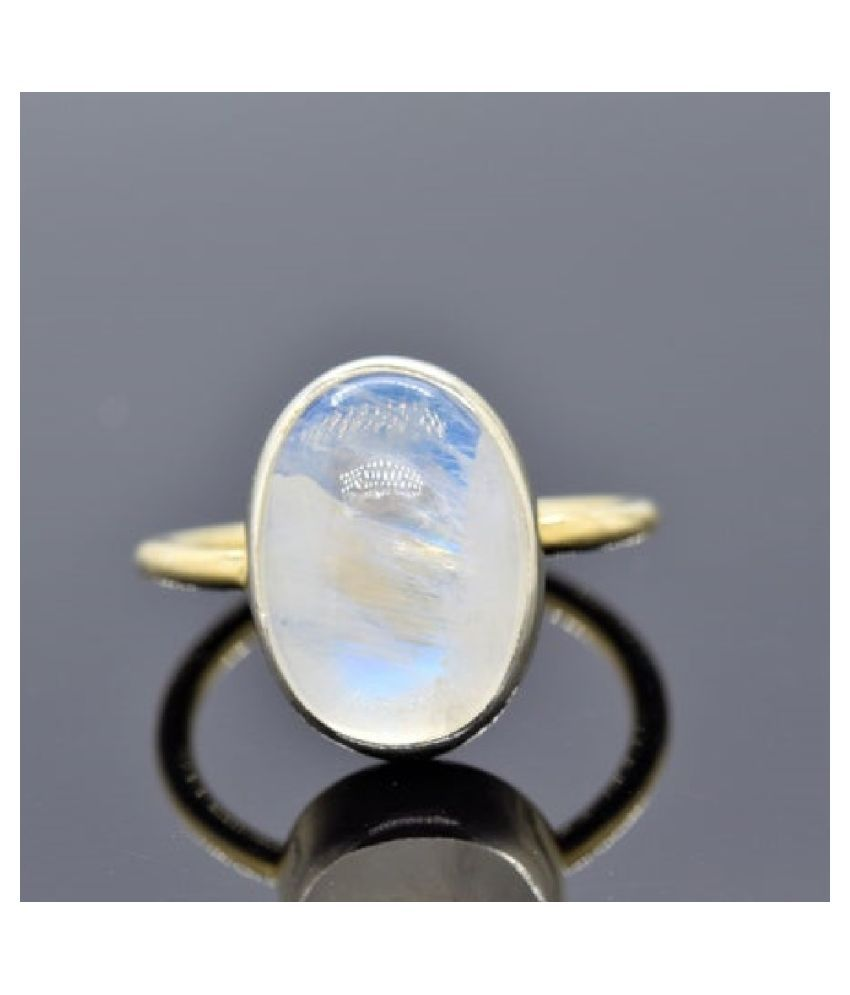 5.25 ratti Gold Plated  MOONSTONE  Ring for unisex by Ratan Bazaar\n