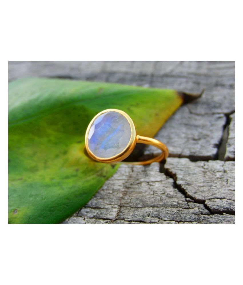 5 ratti Gold Plated  MOONSTONE  Ring for unisex by  Ratan Bazaar\n