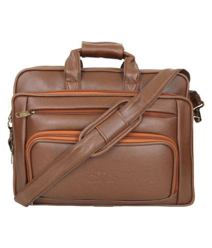Fly Fashion 15.9 inch laptop Tan Leather Office Bag