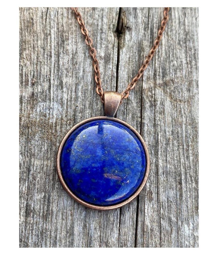 Natural Lapis lazuli Stone 5 Ratti 100 % Certified gold plated Pendant By Kundli Gems