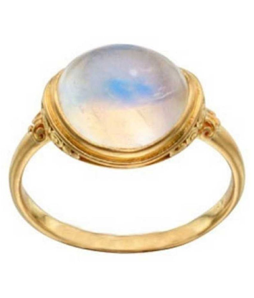 Natural and Precious MOONSTONE Gemstone 6.5 Ratti Certified Adjustable gold plated Ring By Ratan Bazaar