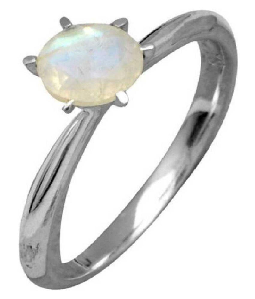 Ring 6.5 ratti Natural MOONSTONE Silver Ring by Ratan Bazaar
