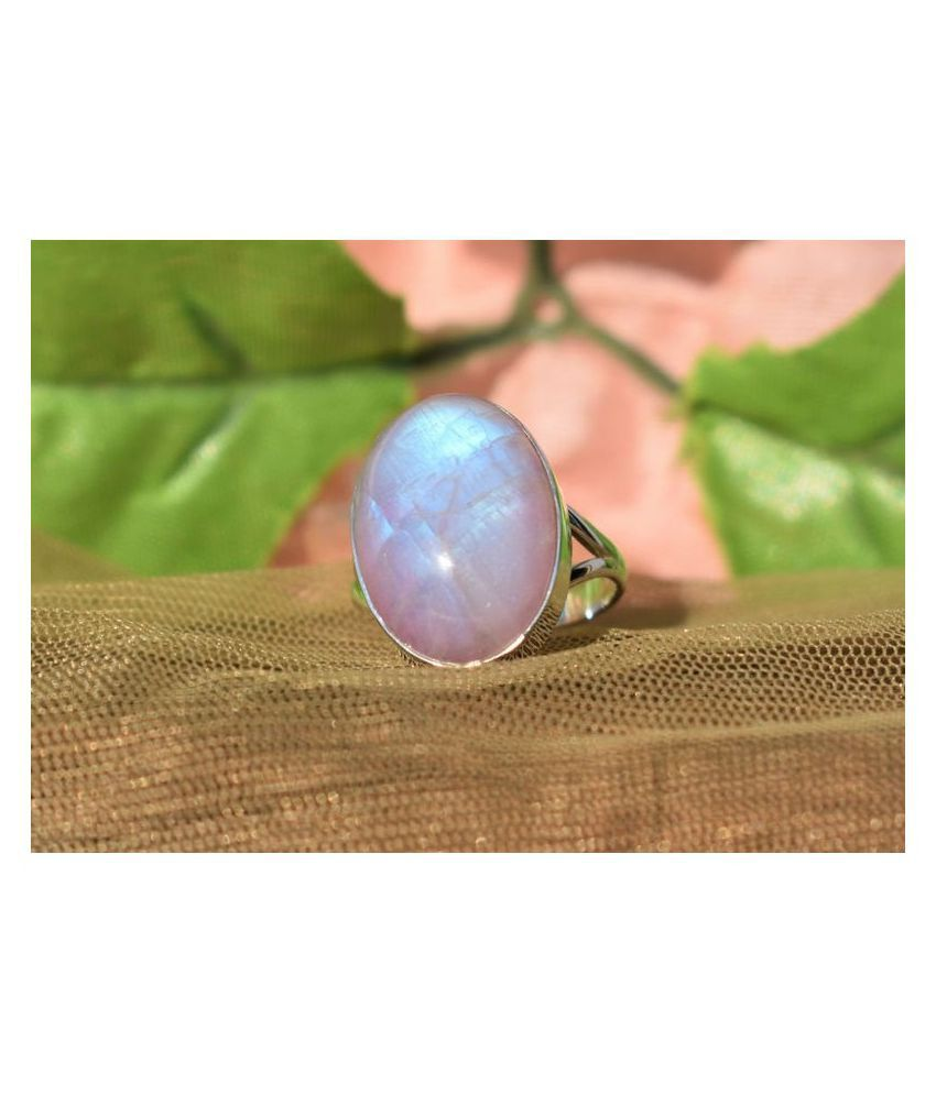 8 Ratti  silver MOONSTONE  Stone Ring by Ratan Bazaar