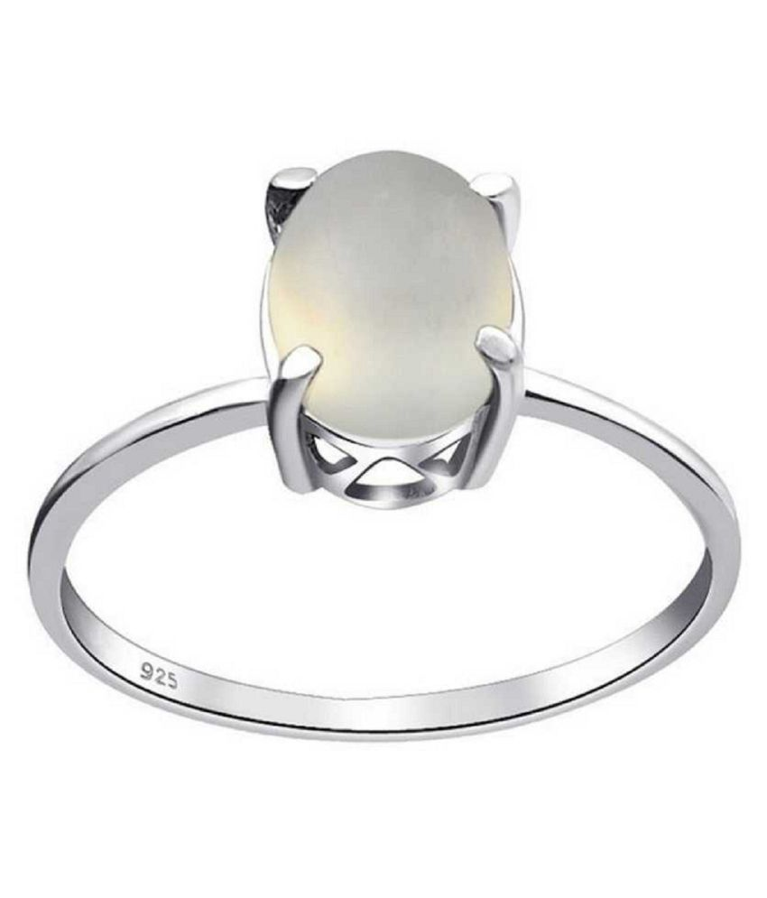 100% Natural 9.25 carat MOONSTONE  Silver Ring by  Ratan Bazaar\n