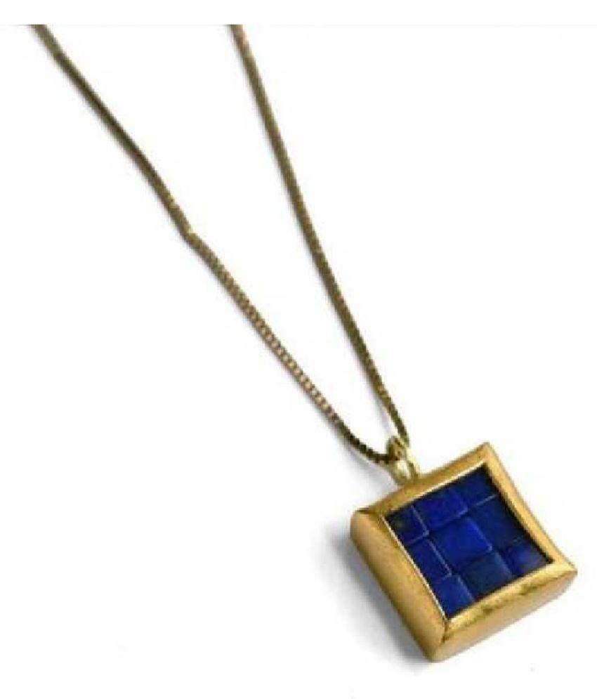 9.5 Carat 100 Original Certified Stone Lapis lazuli gold plated Pendant By Kundli Gems