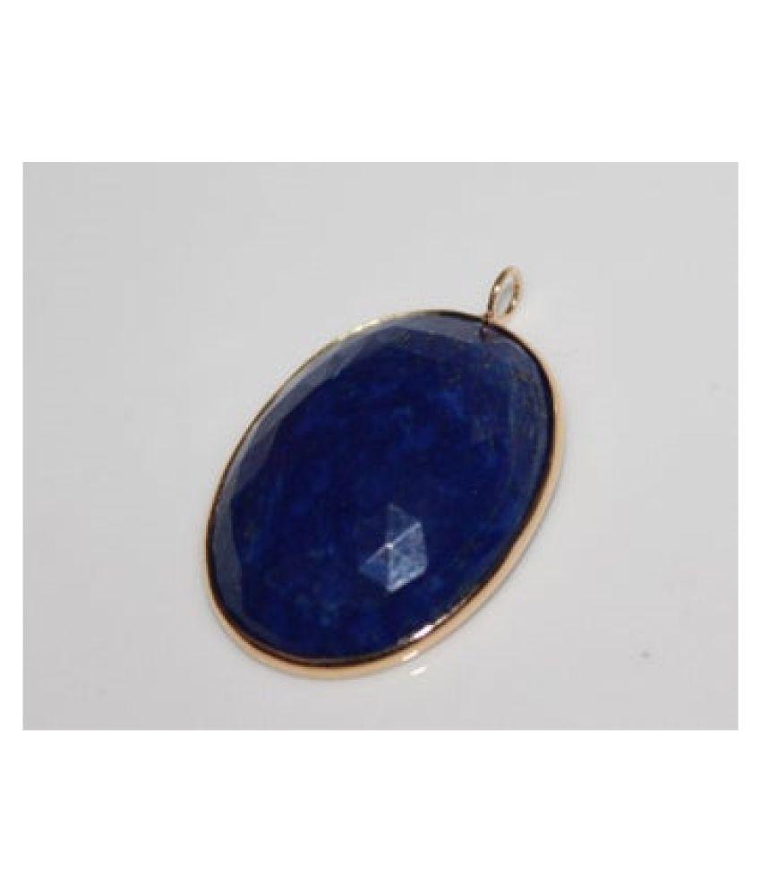 Natural Lapis lazuli Stone 10 Ratti Gemstone gold plated Pendant Original Lab Certified By Kundli Gems