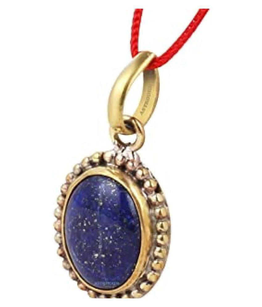 Natural Lapis lazuli Stone 8.5 Ratti 100 Certified gold plated Pendant By Kundli Gems