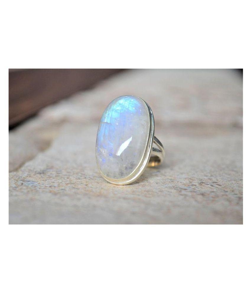 Natural MOONSTONE  12.25 Carat silver Ring  by Ratan Bazaar\n