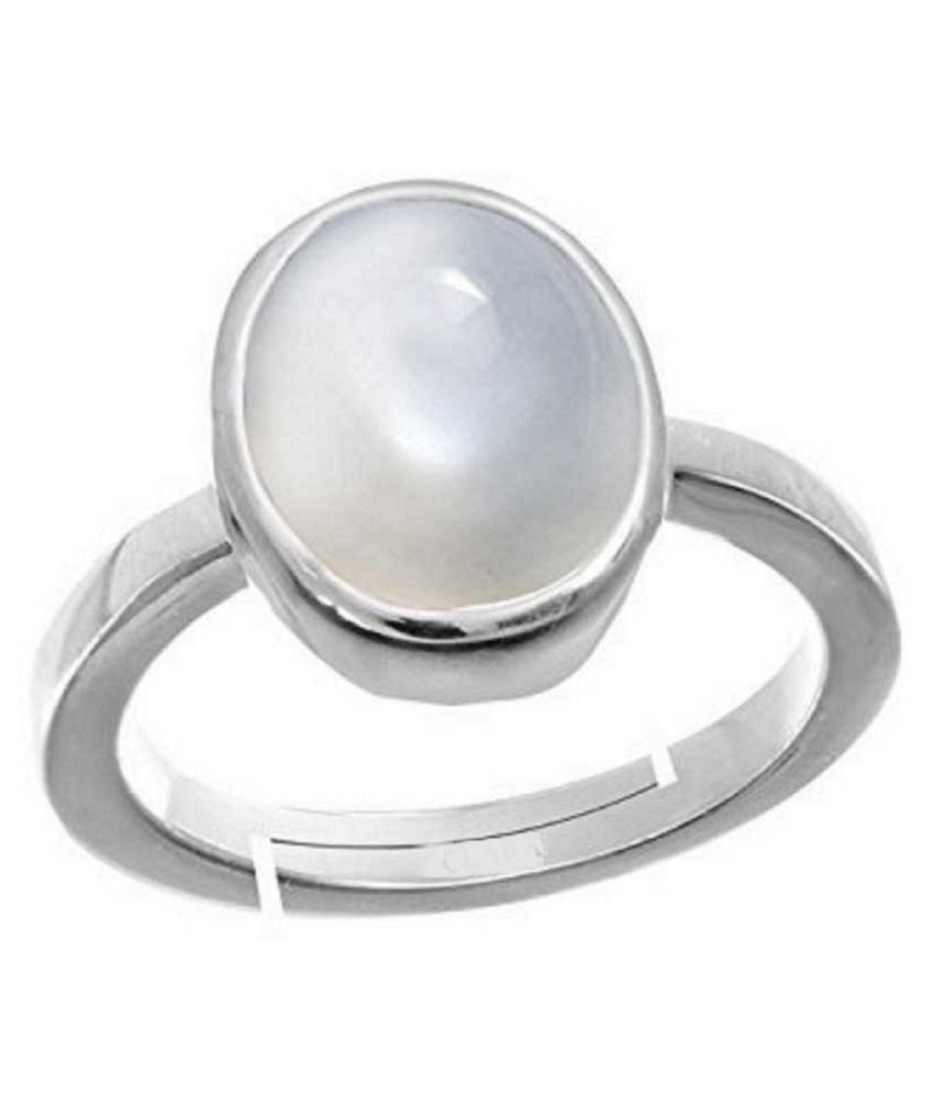 6 carat Natural Silver MOONSTONE  Ring by  Kundli Gems\n