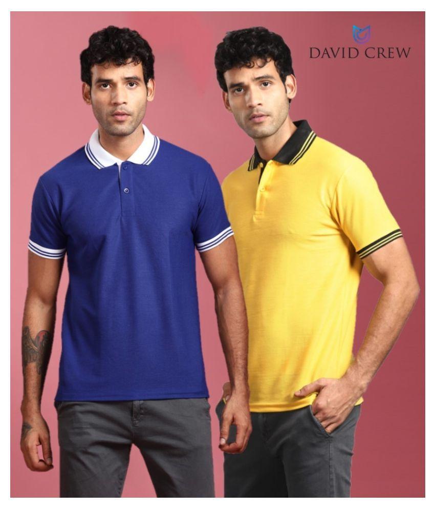 David Crew Polyester Multi Plain Polo T Shirt