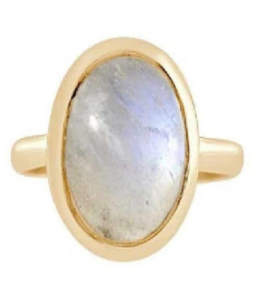 MOONSTONE Ring 4.5 Carat natural MOONSTONE Gold Plated Ring by Kundli Gems