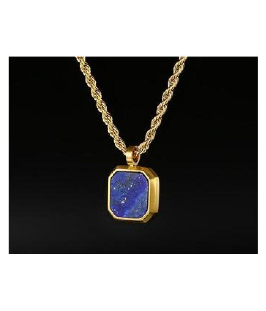 12.5 Ratti Natural Certified Lapis lazuli Gemstone Panchdhatu gold plated Pendant by  Ratan Bazaar