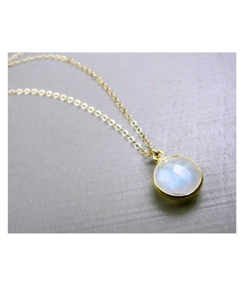 2 ratti stone pure MOONSTONE  Gold Plated Pendant for unisex by  Kundli Gems\n