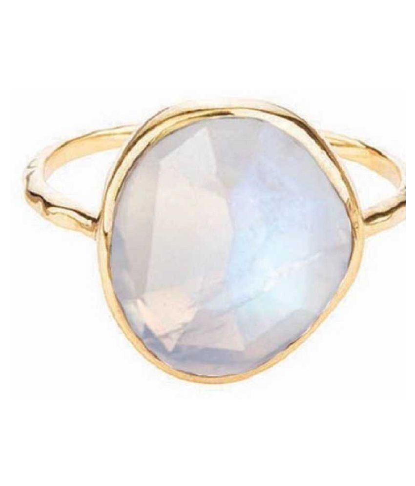 7.25 Ratti Natural Certified MOONSTONE Gemstone Panchdhatu gold plated Ring by Kundli Gems