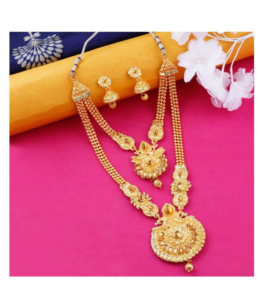 N M CREATION Alloy Golden Contemporary Traditional Gold Plated Necklaces Set
