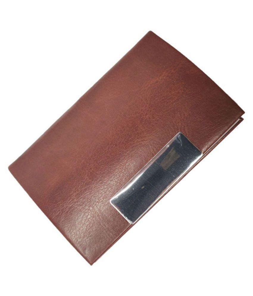 Oculus Impressions Ch-08 Brown Card Holder, Steel Magnetic Case Credit/Debit/ATM/Visiting/Business Card Metal Wallet for Men & Women.