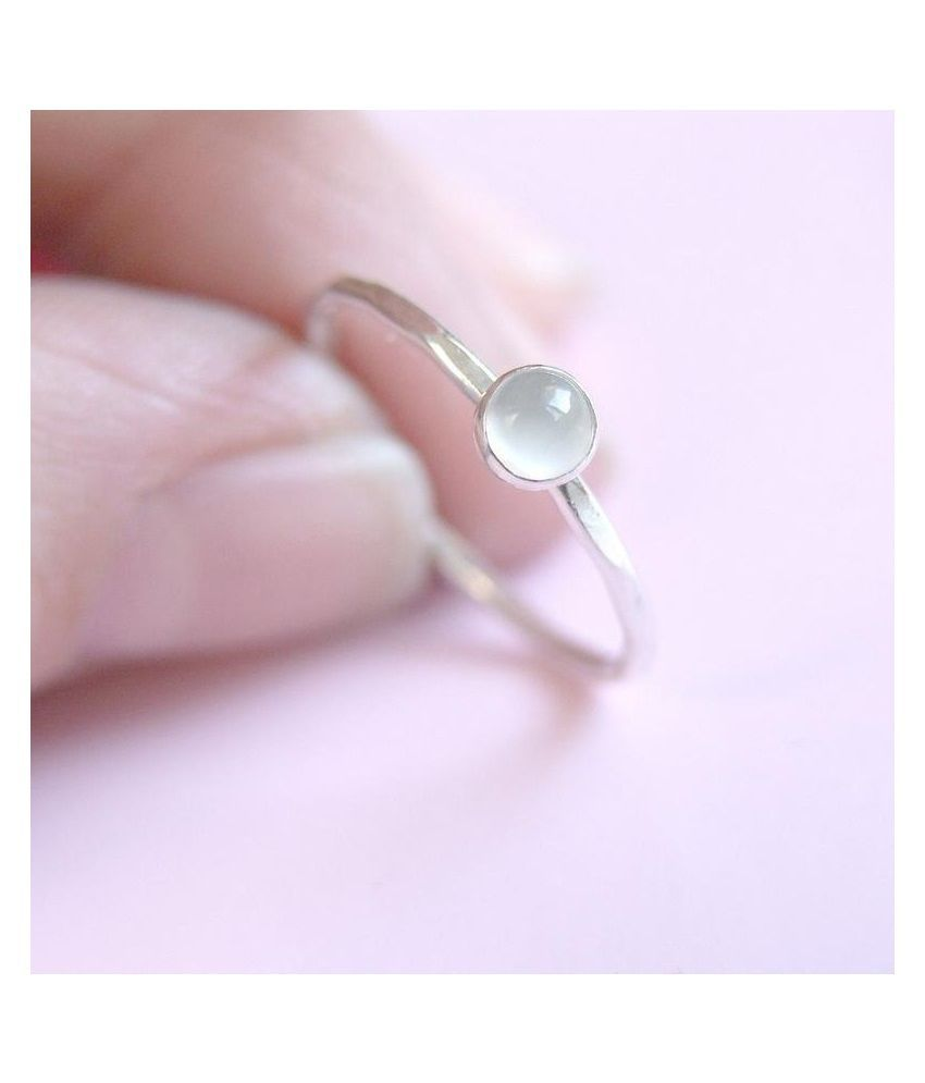 silver  7.5 Carat Classic MOONSTONE  Ring by Kundli Gems