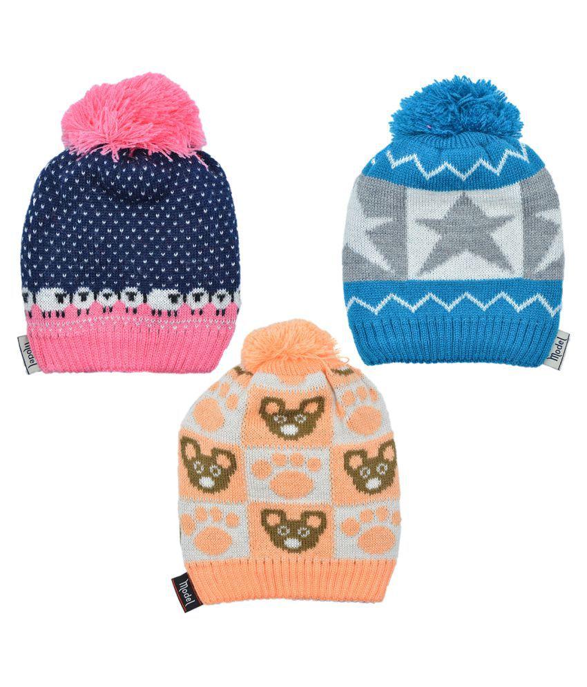 Model Kids Unisex 90% Acrylic Wool, 10% Lycra Winter Wear Cap Multi Color Combo 1