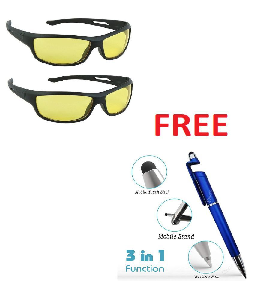 Unisex Night Vision Sunglasses j(Yellow) with 3 in 1 pen. Pack Of 2