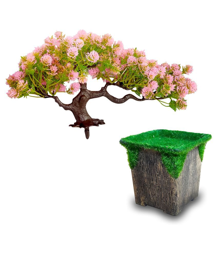 FNS Décor Natural Looking Artificial Pink & Green Bonsai with Flopping Pot Bonsai with Pot Multicolour Greens With Pot Fabric - Pack of 1