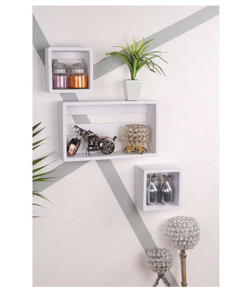 Home Sparkle wall mount floating wall shelves bed room, living room, office, restaurant, home décor set of 3 (White)