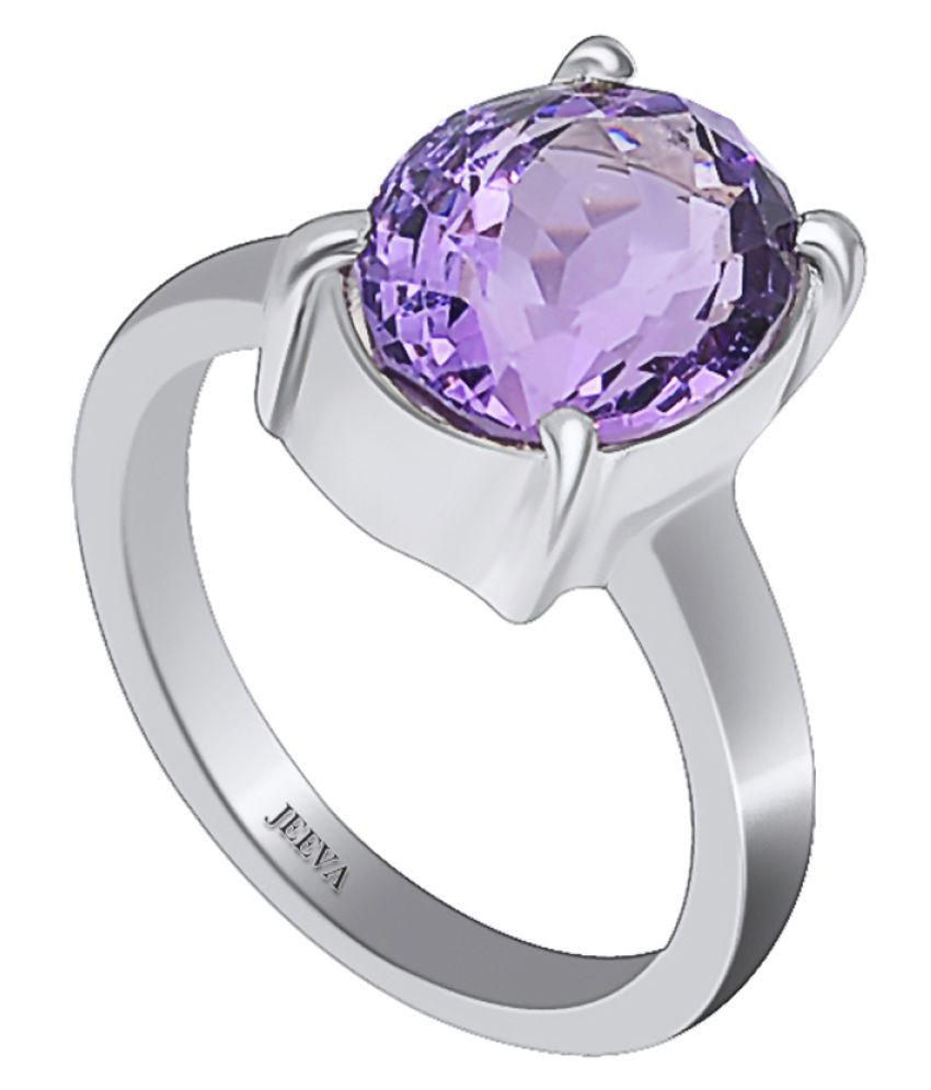 Jeeva certified natural amethyst stone 3.25 Ratti or 2.93 cts ring in 9.25 silver metal for women