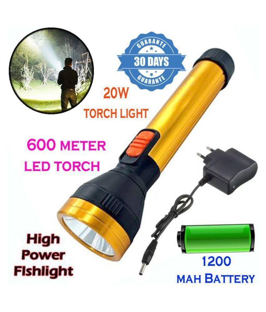 MS Rechargeable 600mtr Waterproof Long Beam Metal High Power Flashlight Torch 20W Flashlight Torch Long Range 2 Mode - Pack of 1