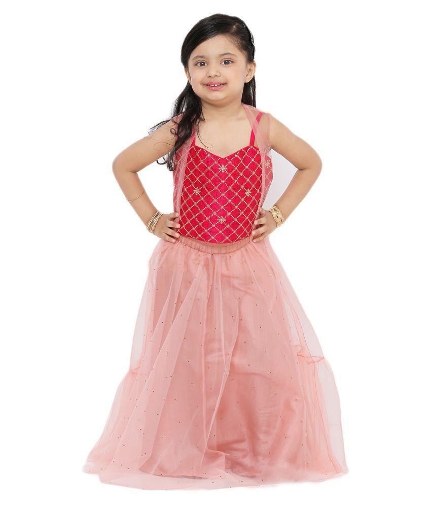 Salwar Studio Kid's Light Pink Net Readymade Lehenga choli with net jacket
