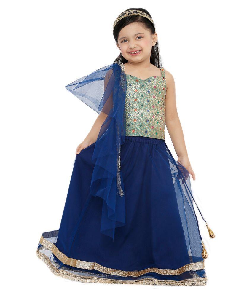 Salwar Studio Kid's Navy Blue Net Readymade Lehenga choli