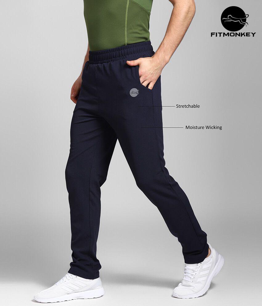 FITMonkey Navy Polyester Dobby Lycra Men's Trackpants