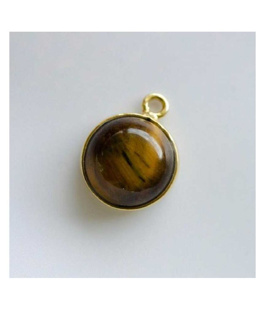 KUNDLI GEMS - Precious 6.25 carat Original Certified Tiger Stone Tiger's Eye gold plated  Pendant  Lab Certified & effective stone Pendant  for unisex
