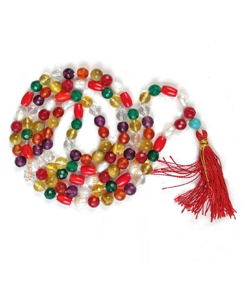 Natural Navratna Beads Mala Original & Certified 9 precious stone beads mala for men & women
