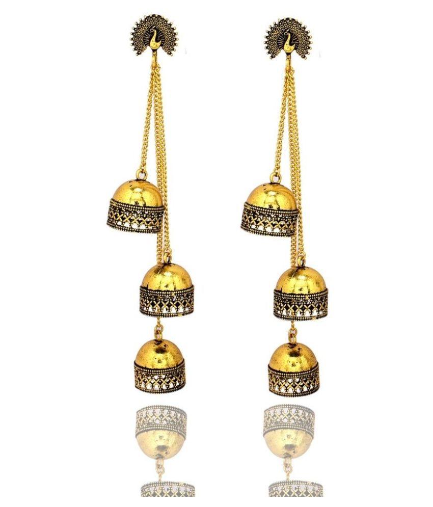 Steorra jewels Golden Slim Chain Long Dangler Bollywood Earrings