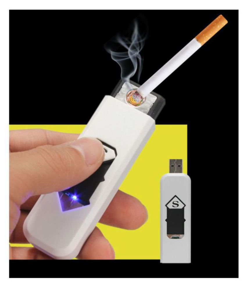 USB Rechargeable Electronic Flameless Lighter (Black/White)