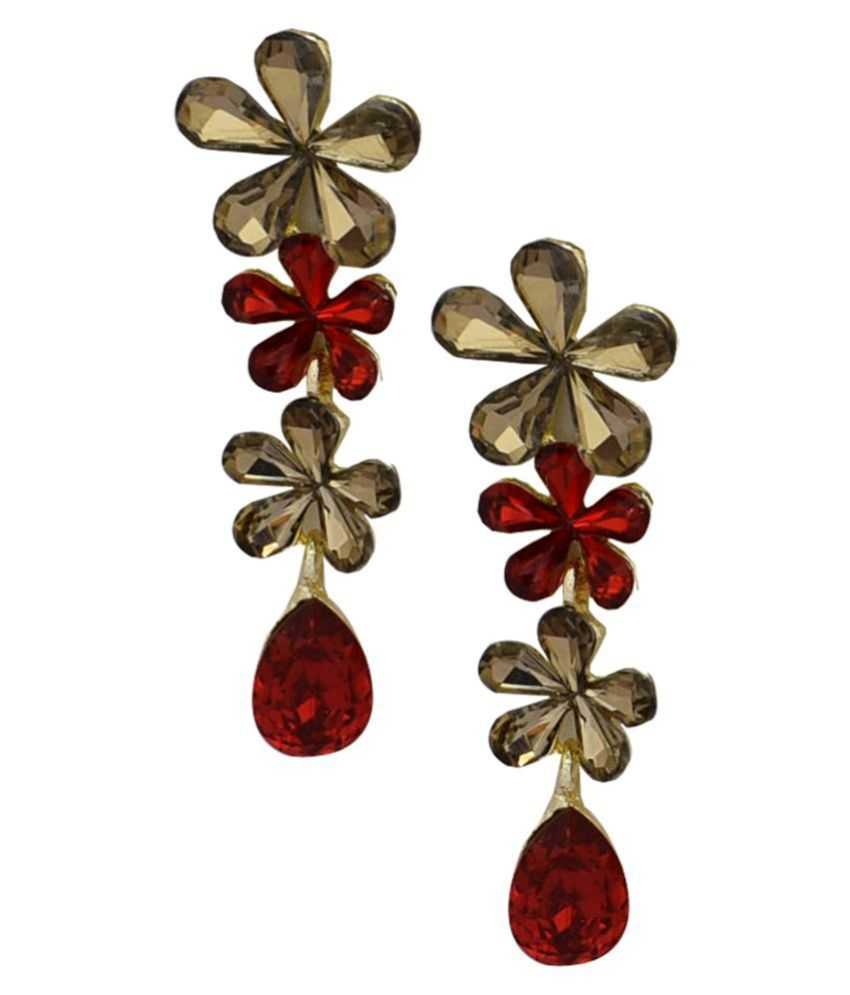 Jaishree Jewel Golden Glass Red Crystaln Floral Earrings for Women and Girls
