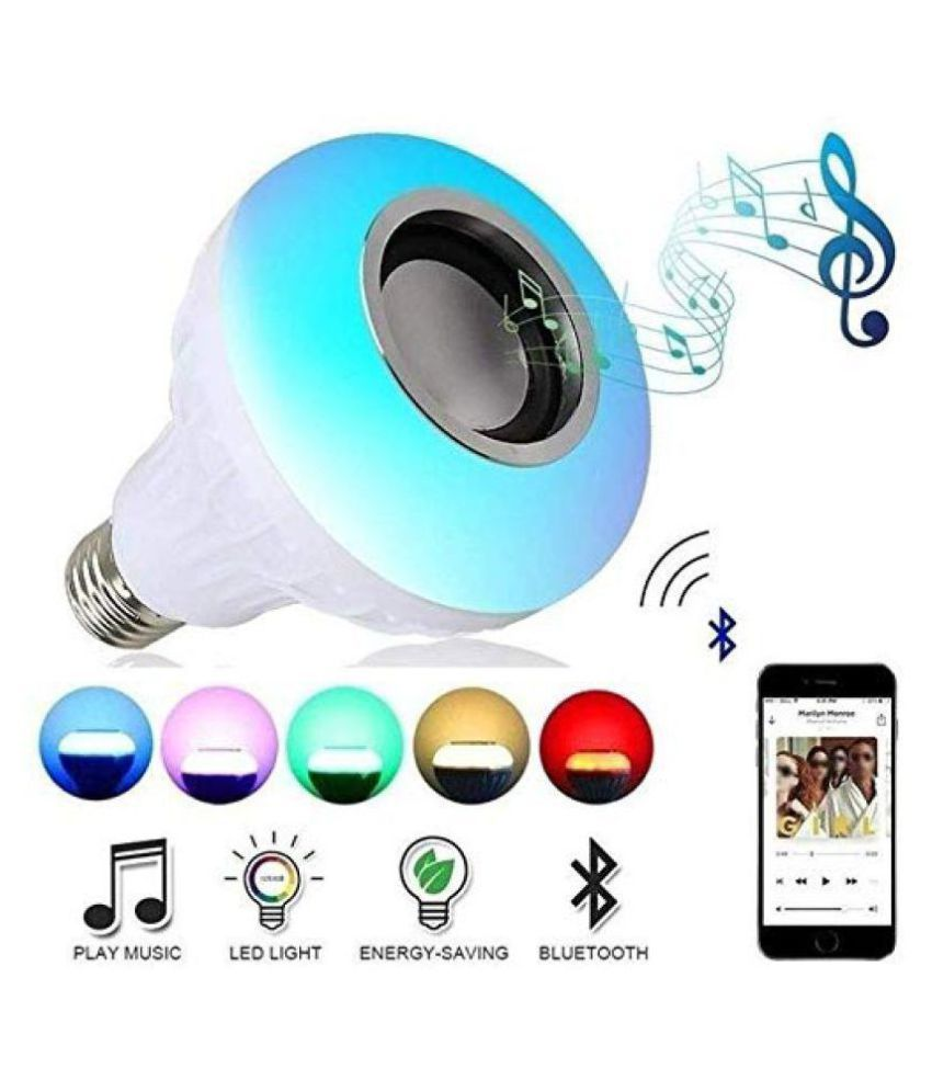 Music Light Bulb With Bluetooth Speaker, 7W, E27 & B22 RGB Self Changing Color Lamp Built-In Audio Speaker-Pack of 1