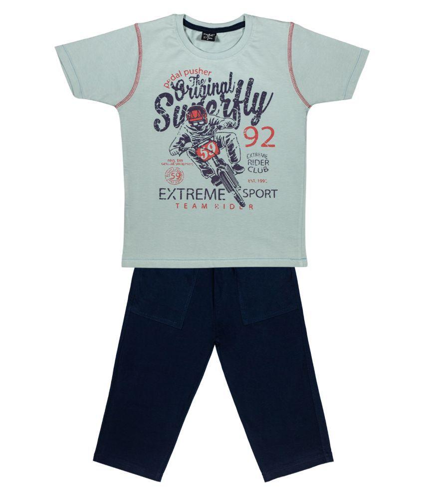 Todd N Teen Boys Cotton Casualwear, Nightwear, Loungewear With three quarter pant 6 years (ashblue)